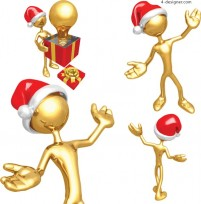 Lovely Christmas 3D gold trophy vector material