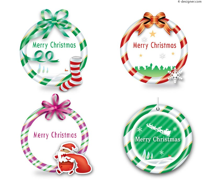 Lovely Christmas color ring vector material