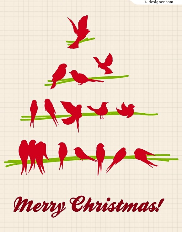 Lovely birds and Christmas tree vector material