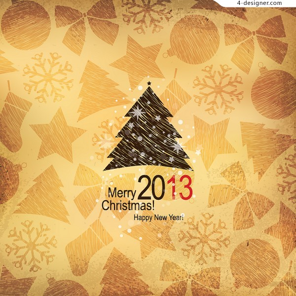 Lovely wood pattern Christmas tree vector material
