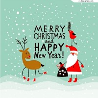 Merry Christmas cartoon vector material