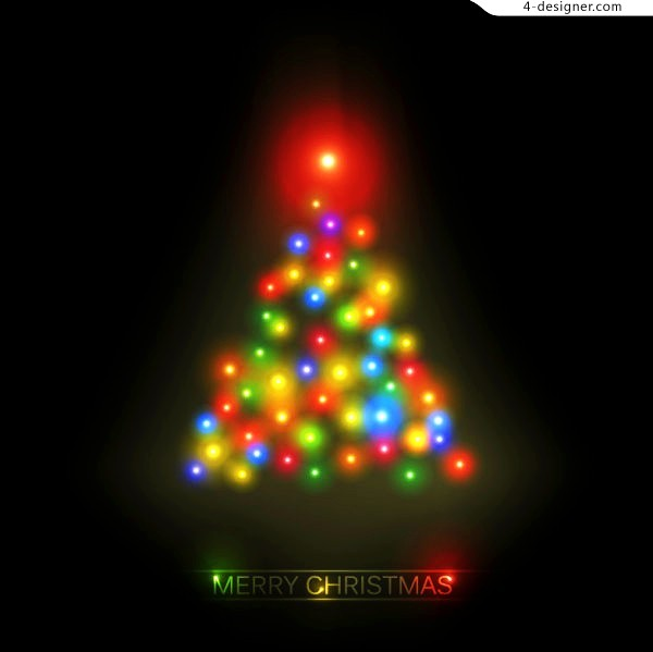 Multicolored light Christmas tree vector material