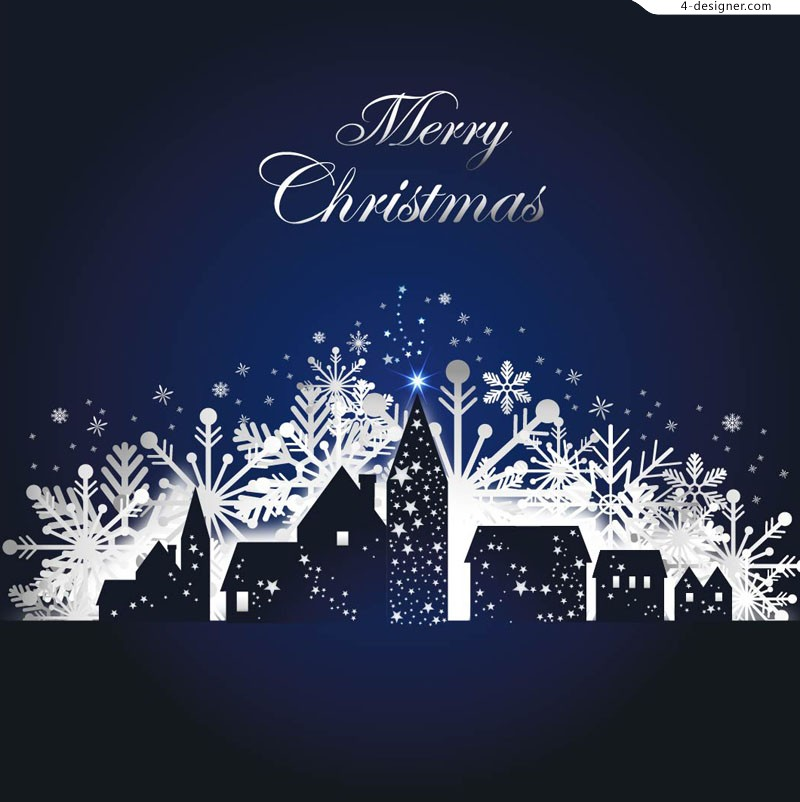 Quiet Christmas snowy night vector material