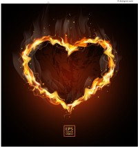 Realistic flame of love vector material