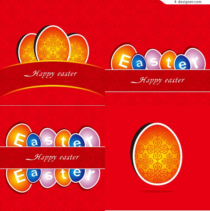 Red Easter greeting card vector material