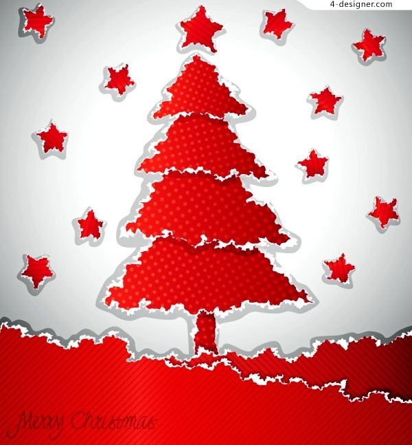 Red Talasite Christmas tree vector material