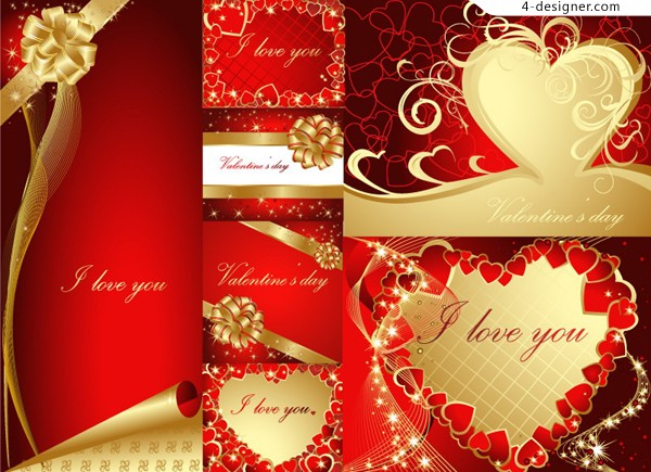 Red classic Valentine s Day cards vector material