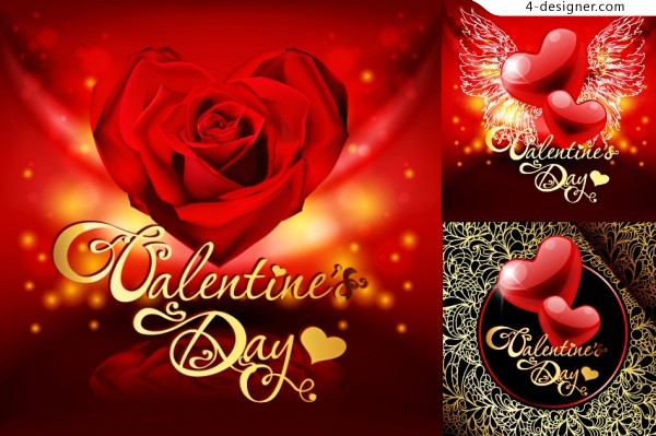 Retro Valentine s Day greeting card vector material
