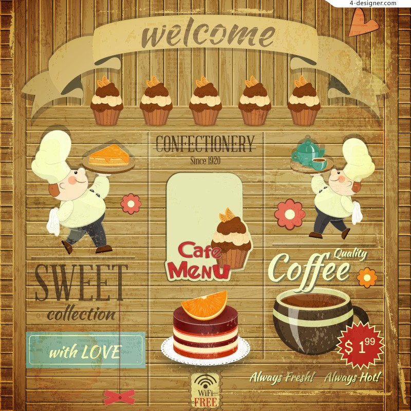 Retro food poster vector material