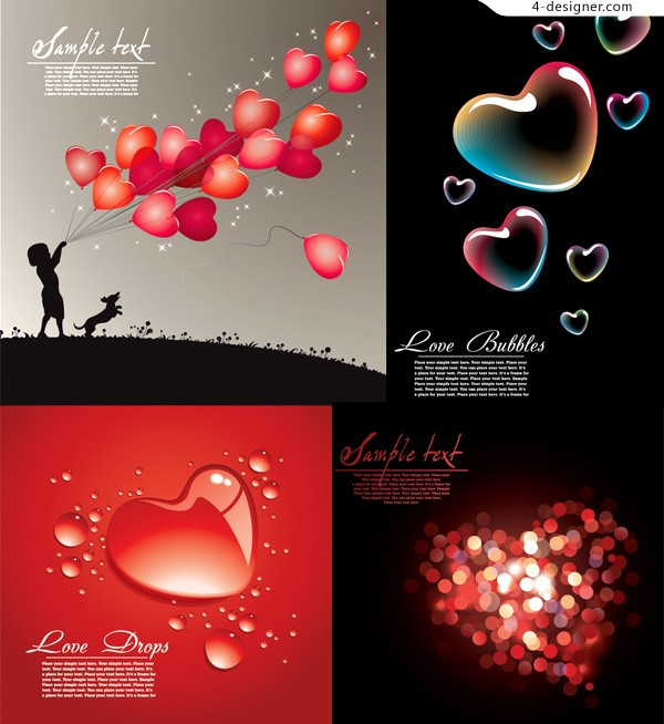 Several exquisite practical heart shaped vector materials