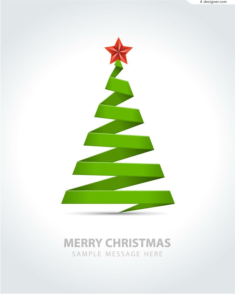 Christmas Tree Vector Image.4 Designer Simple Ribbon Christmas Tree Vector Material