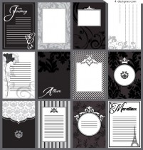 Stylish black and white postcard template vector material