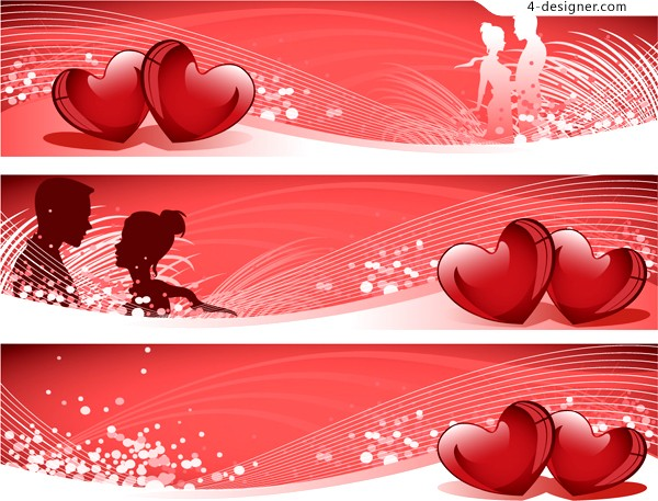 Valentine banner vector material