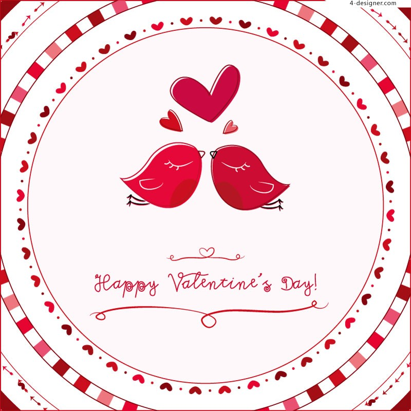 Valentine s Day cartoon birds vector material