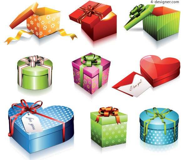 Various shapes of exquisite holiday gift vector materials