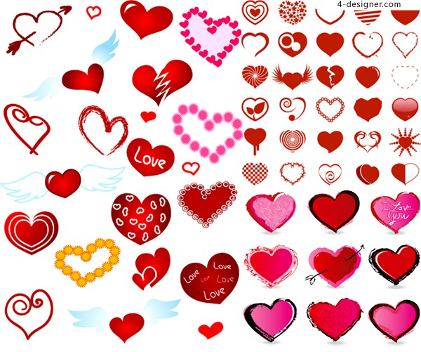 Various styles of heart shaped elements vector material