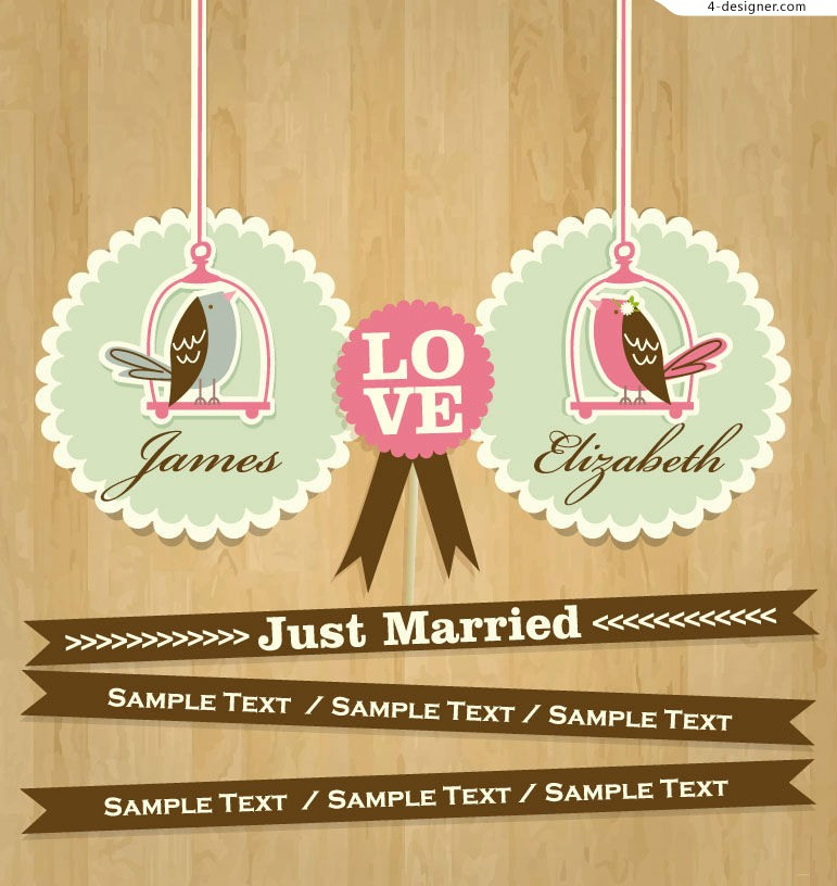 Vector material for designing cartoon wedding card