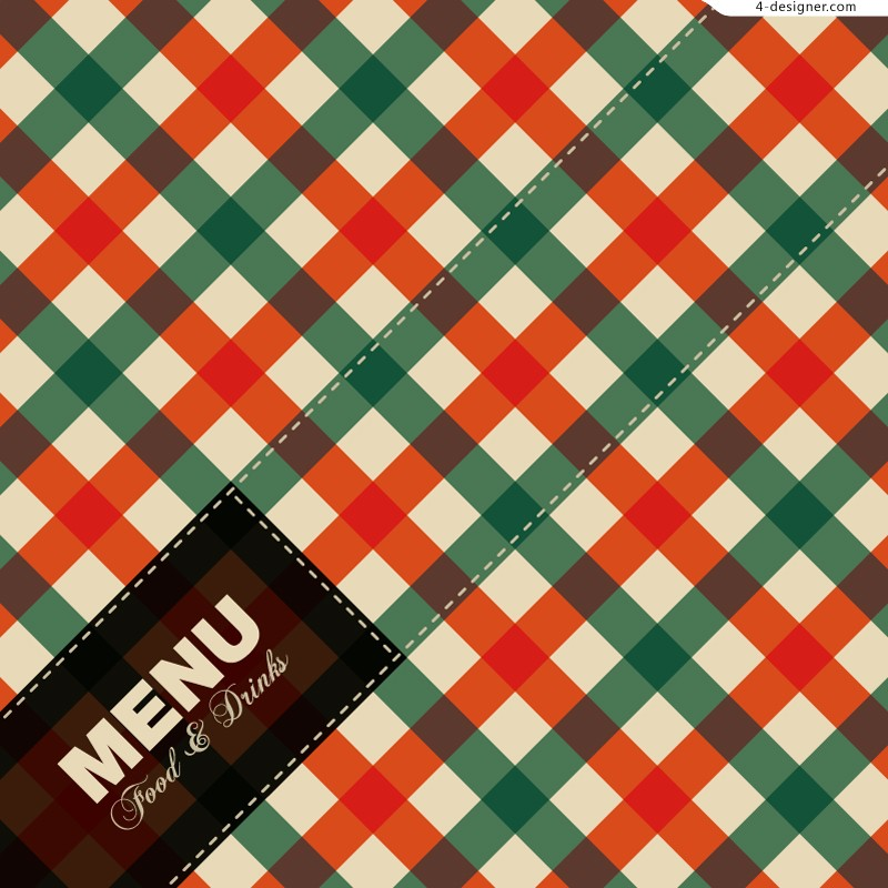 Vector material for designing fashion plaid menu cover