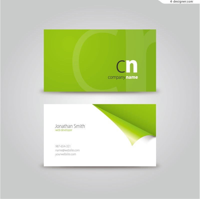 Vector material for designing fresh green business card