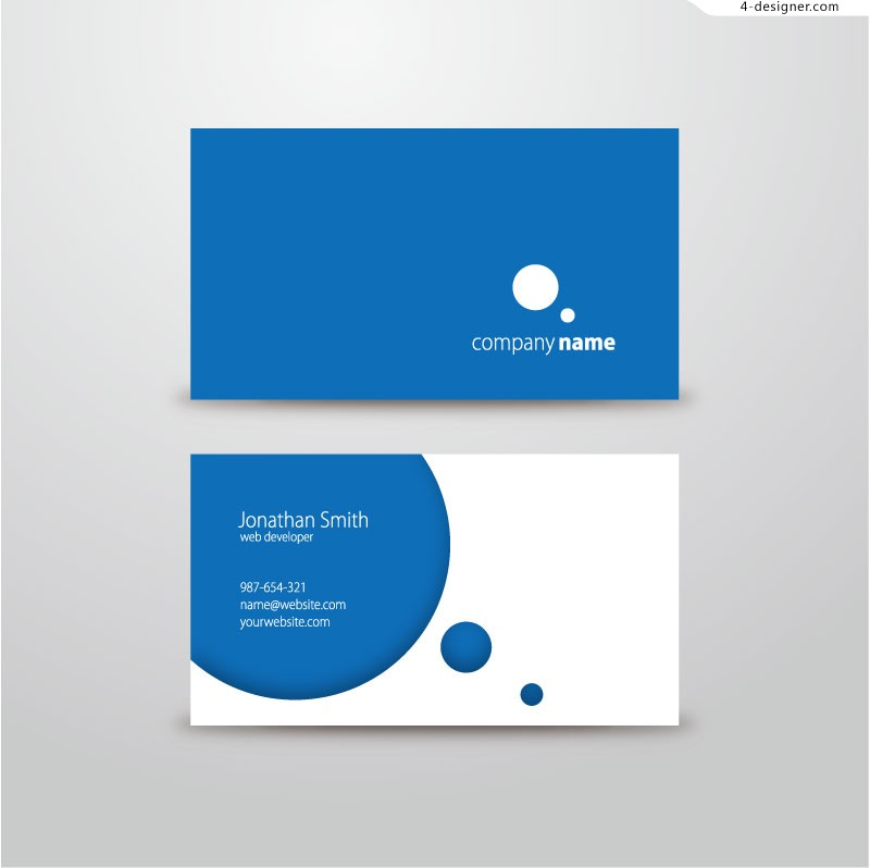 Vector material for designing simple blue business card