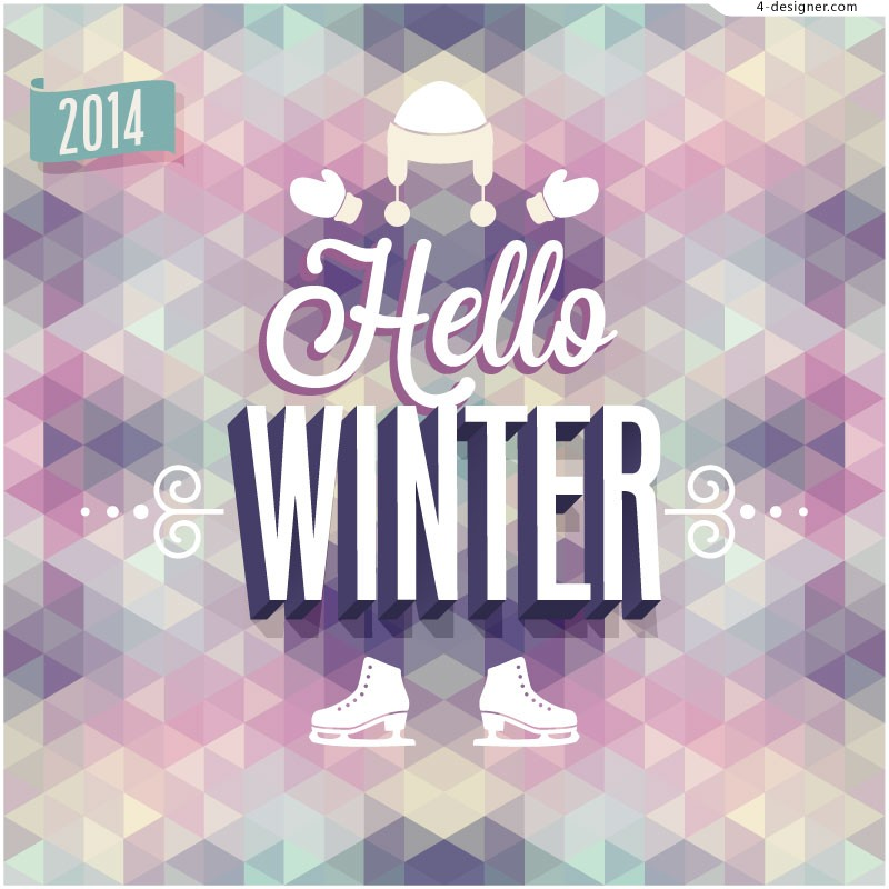 Vector material of 2014 Winter poster