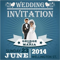 Vector material of 2014 wedding invitation card