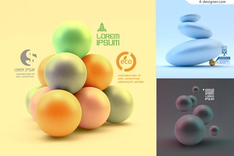 Vector material of 3D spherical background