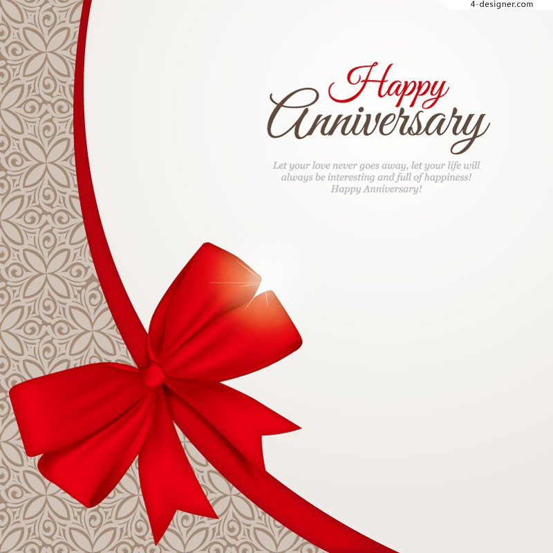 Vector material of Happy Anniversary bow background