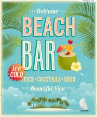Vector material of Leisurely beach bar poster