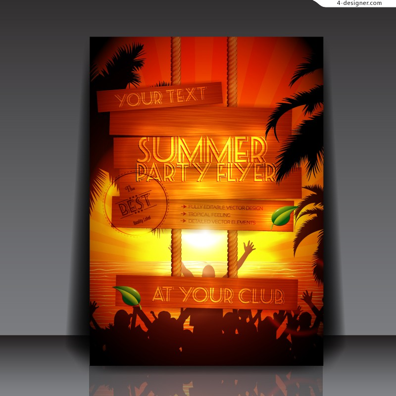 Vector material of Summer party leaflet