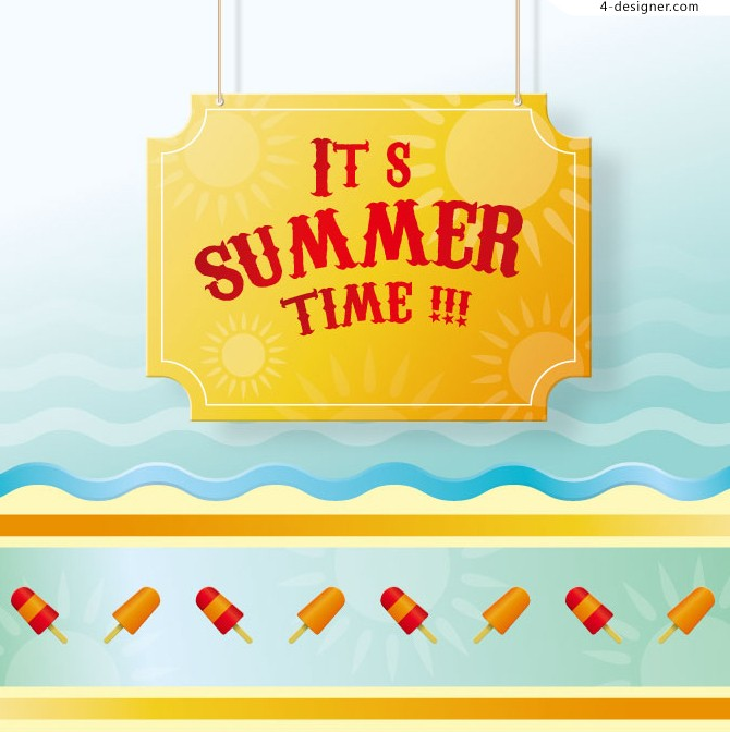 Vector material of Summertime poster