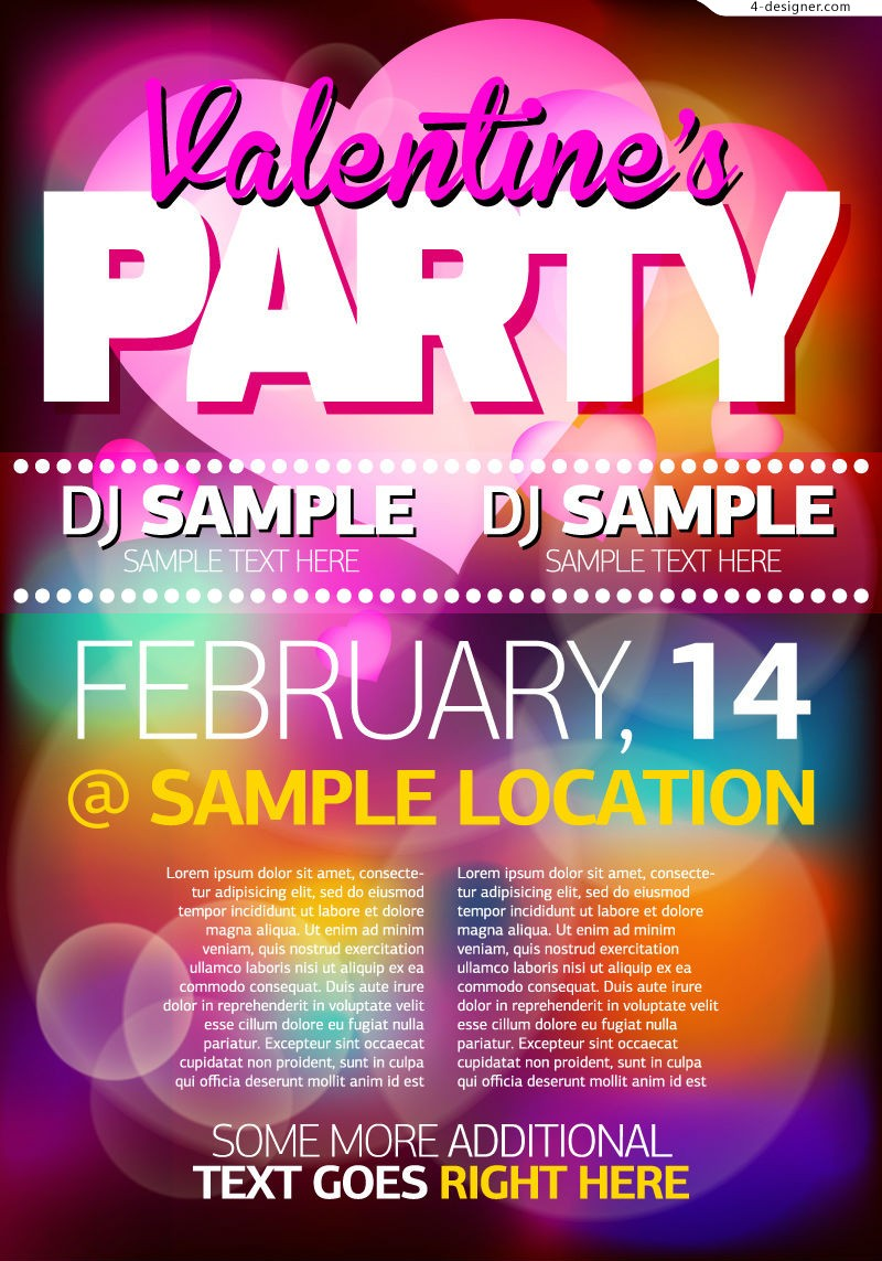 Vector material of Valentine s Day party poster