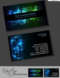 Vector material of black business card with cool light effect