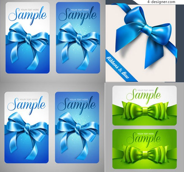 Vector material of blue bow card