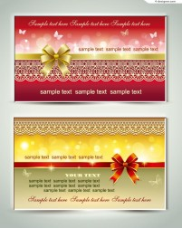 Vector material of card decorated with lace bow