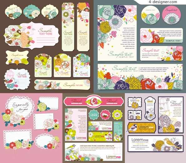 Vector material of card with beautiful hand painted flowers and birds