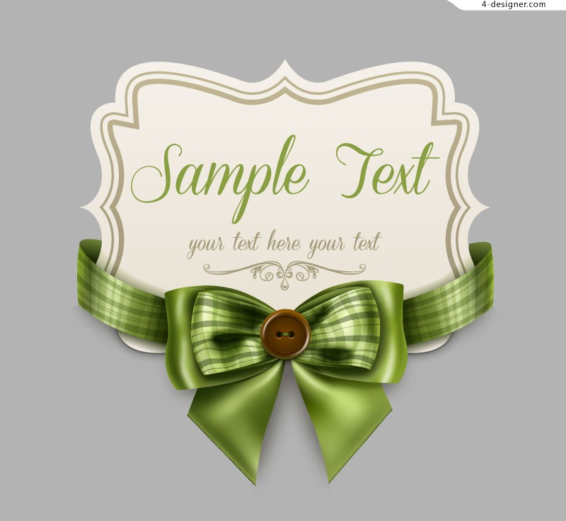 Vector material of card with green ribbon bow