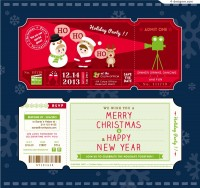 Vector material of cartoon Christmas party ticket