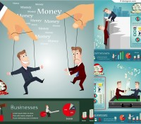 Vector material of cartoon financial business poster