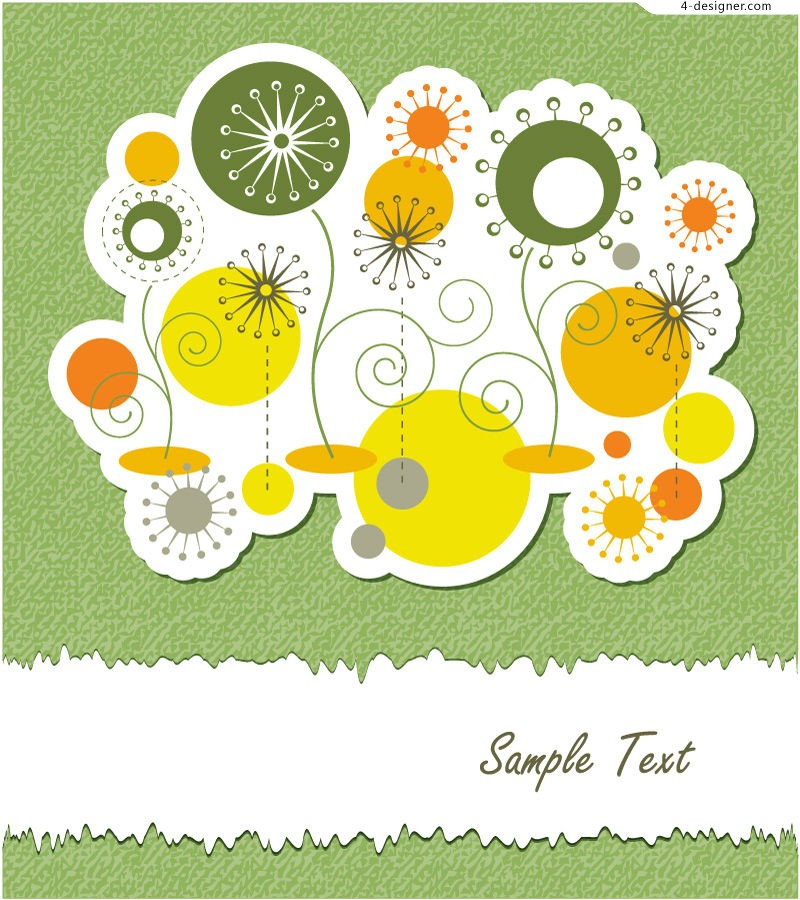 Vector material of childlike circular flowers background