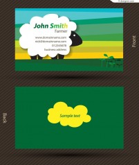 Vector material of childlike sheep business card