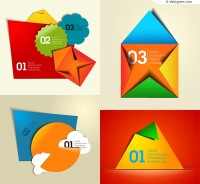Vector material of color paper folding figures label