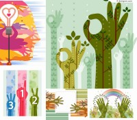 Vector material of colorful environmental gestures poster