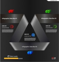 Vector material of cool black paper folding information graph