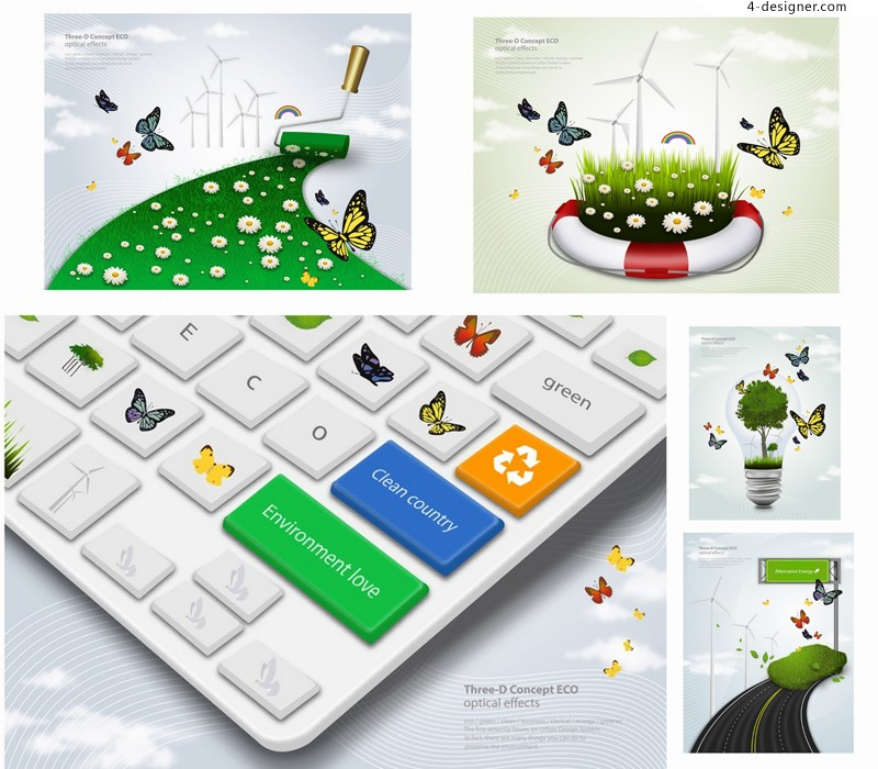 Vector material of creative environmental technology illustrator