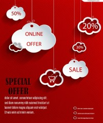 Vector material of creative sales cloud shaped paper cut background