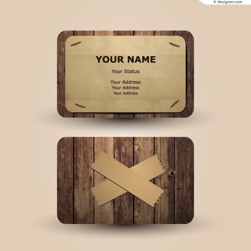 Vector material of creative wood business card