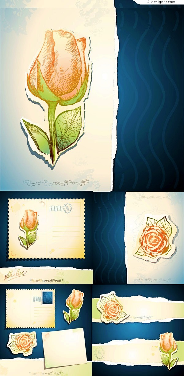 Vector material of elegant rose card