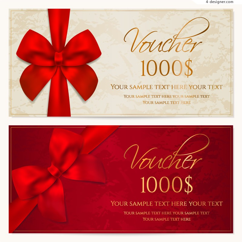 Vector material of exquisite bow voucher