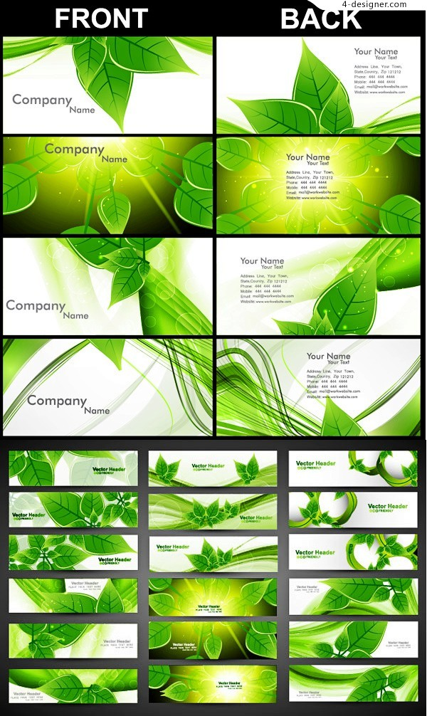Vector material of fresh green leaves card